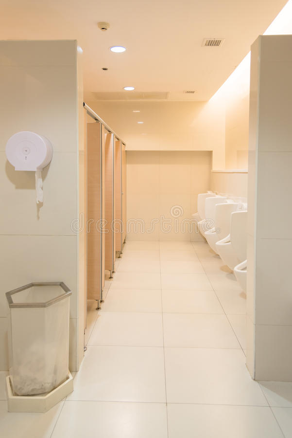Public clean modern white male toilet restroom with for Modern cleaning concept