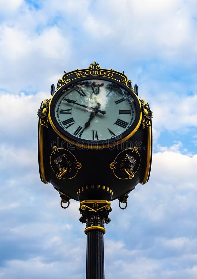 Public clock in King Mihai I park Herastrau park in Bucharest, Romania, 2019.  royalty free stock images