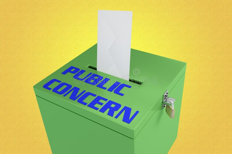 PUBLIC CONCERN concept. 3D illustration of PUBLIC CONCERN script on a ballot box, and an voting envelope been inserted into the ballot box, isolated over a stock illustration