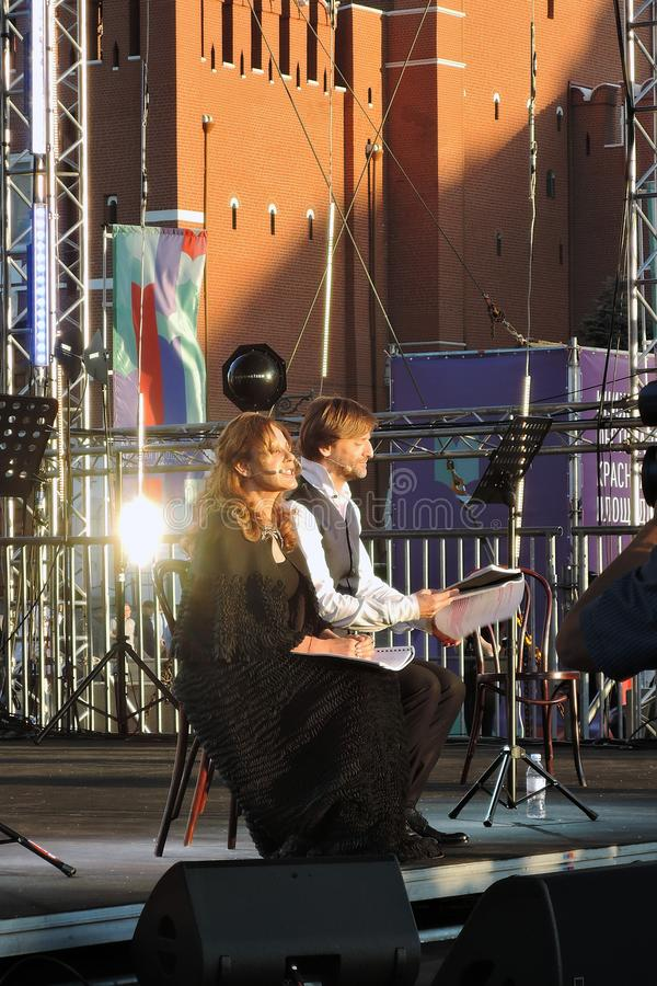 Public concert. The Red Square Book Fair in Moscow. Public concert. Actors read famous literature books. The Red Square Book Fair in Moscow. Place: Moscow, Red stock image