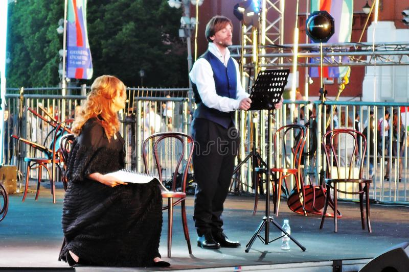 Public concert. The Red Square Book Fair in Moscow. Public concert. Actors read famous literature books. The Red Square Book Fair in Moscow. Place: Moscow, Red royalty free stock photography
