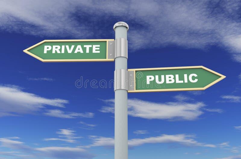public 3d et roadsign privé illustration stock