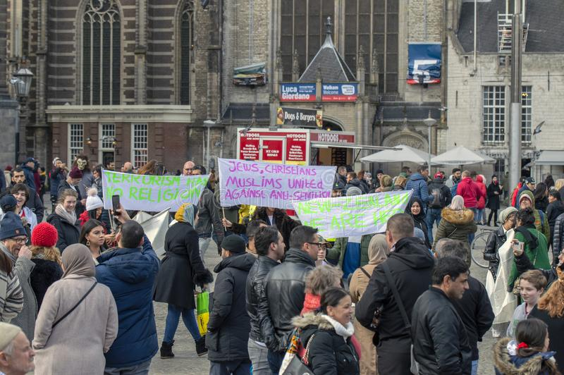 Public Demonstration Against Massacre At Christchurch New Zealand At Amsterdam The Netherlands 17-3-2019 royalty free stock images