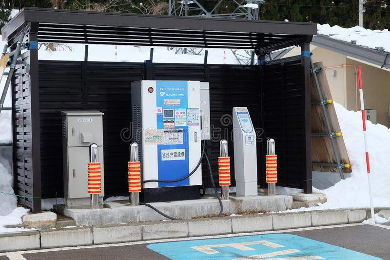 Public electric vehicle charging station. royalty free stock image