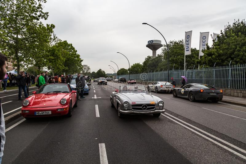 Загибом event of historical Parade of MilleMiglia a classic italian road race with vintage cars. Brescia, Italy - May 18, 2019: Triumphant stock image