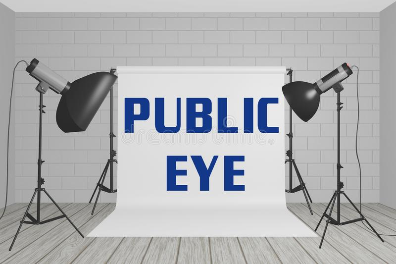 PUBLIC EYE concept. 3D illustration of PUBLIC EYE title on a white screen in a photographic studio, above, anxiety, business, busy, camera, city, corporate vector illustration