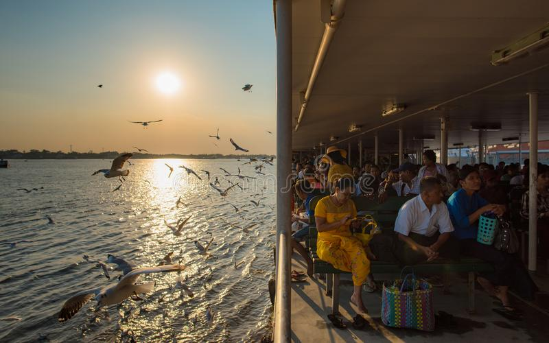 Public ferry to crossing Yangon river. Yangon, Myanmar - December 28, 2016: Public transportation to crossing Yangon river by large ferry in greater Yangon stock image