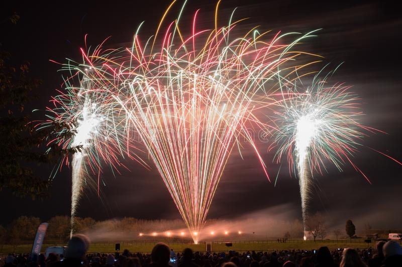 A public firework display in celebration of bonfire night at Westpoint Showgrounds. Exeter, Devon, UK stock images