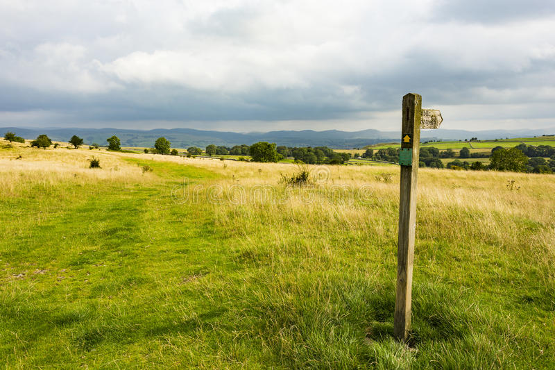 Public footpath marker stock image