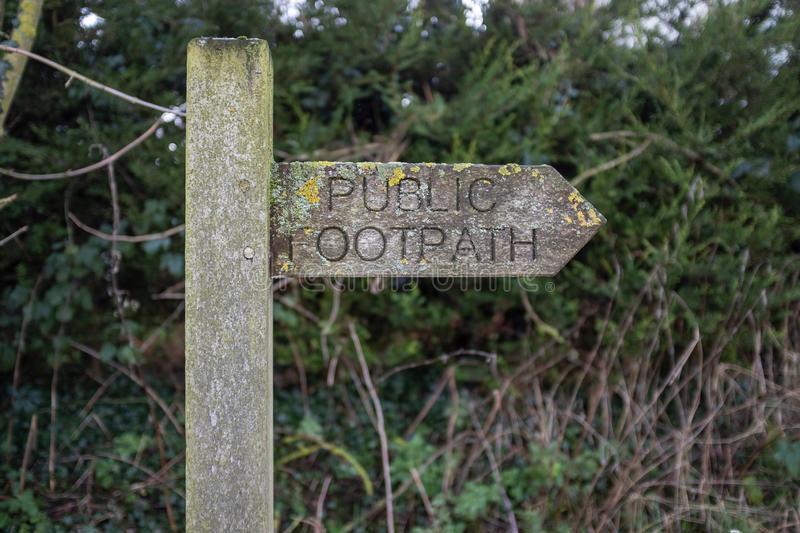 A public Footpath sign royalty free stock image