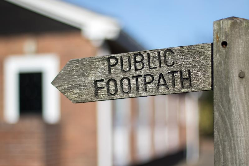 Public footpath sign. Right of way access through private proper. Public footpath sign. Right of way access through or adjacent to private residential property stock photo