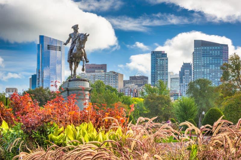 Public Garden in Boston, Massachusetts. George Washington Monument at Public Garden in Boston, Massachusetts stock photos