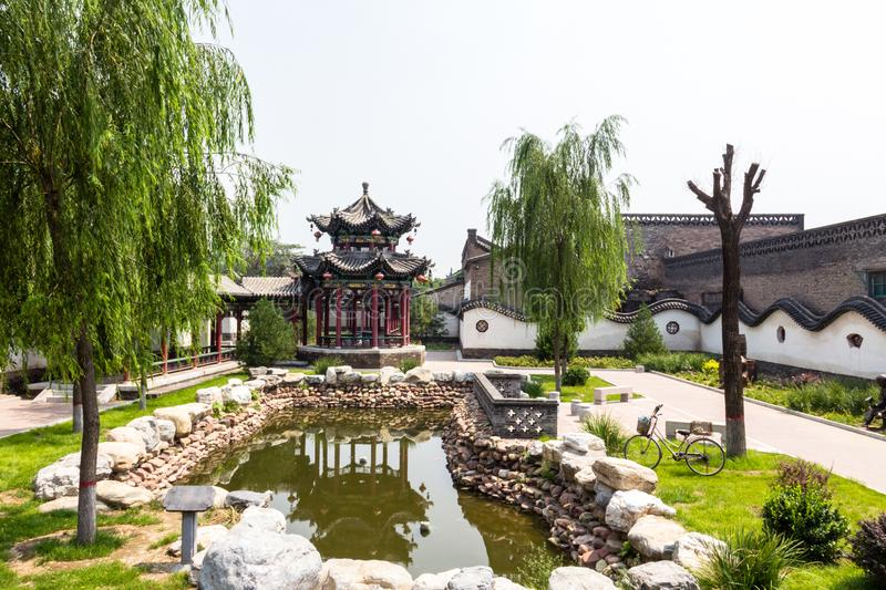 A public garden inside of Pingyao Ancient City, Shanxi province, China. Pingyao is a UNESCO World Heritage Site royalty free stock photos