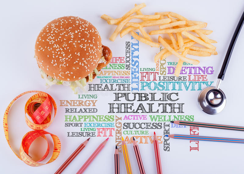 Public Health the inscription on the table. Healthy diet, lifestyle, body and mental health concept royalty free stock images