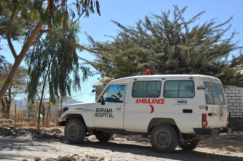 Public hospital in the city of Borama. BORAMA, SOMALIA - JANUARY 13, 2010: Ambulance. Public hospital in the city of Borama in North-West Somalia. Located near royalty free stock image