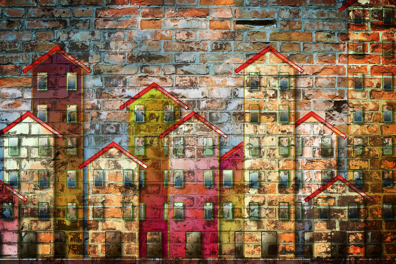 Public housing concept image painted on a brick wall royalty free illustration