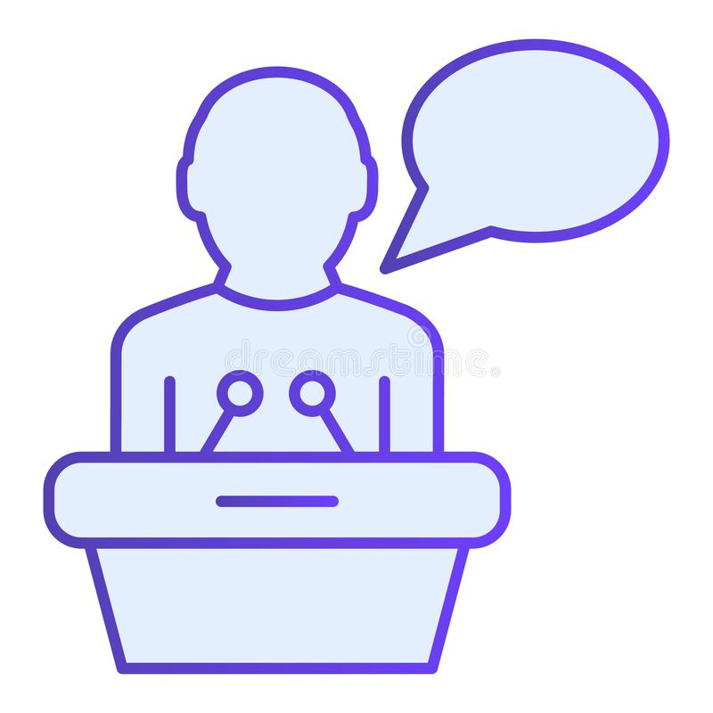 Public lecturer flat icon. Speaker on tribune blue icons in trendy flat style. Speech gradient style design, designed. For web and app. Eps 10 royalty free illustration