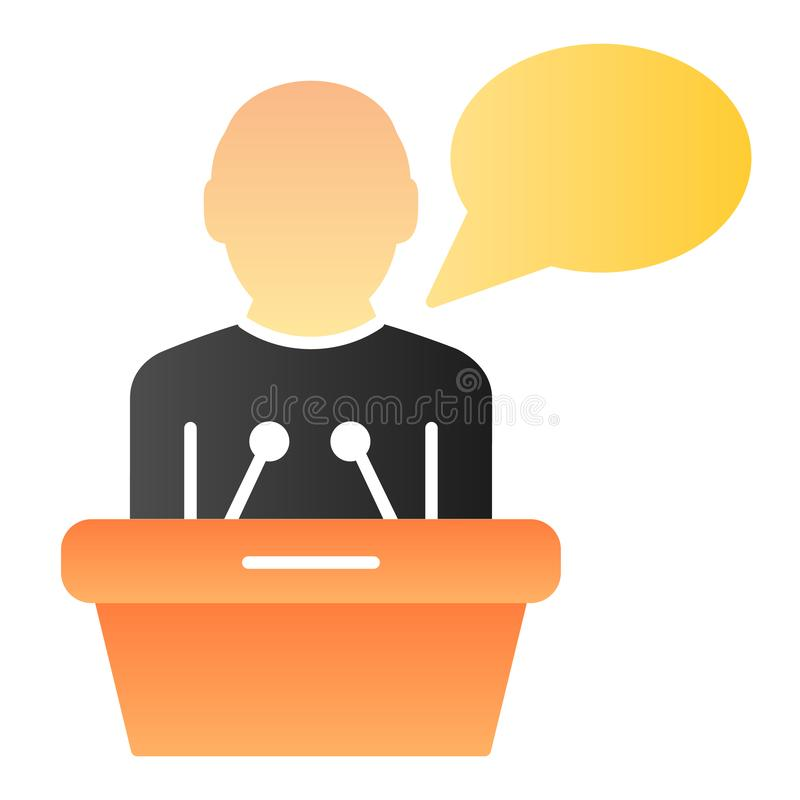 Public lecturer flat icon. Speaker on tribune color icons in trendy flat style. Speech gradient style design, designed. For web and app. Eps 10 royalty free illustration