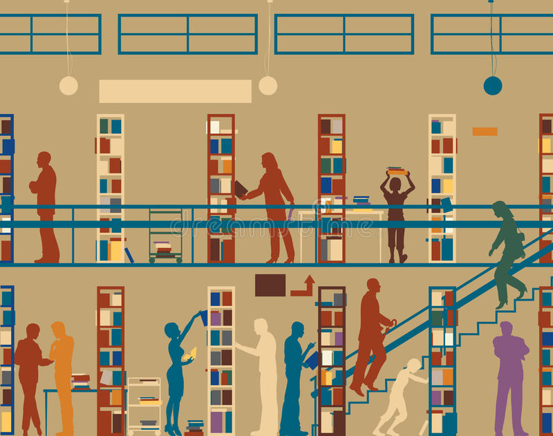 Download Public library stock vector. Image of shelves, librarian - 17963280