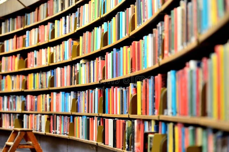 Public library bookshelf royalty free stock photo
