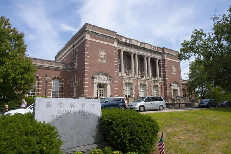 Public Library in Brookline, Massachusetts MA, USA. The Public Library of Brookline at 361 Washington Street in Brookline Village, town of Brookline stock photo