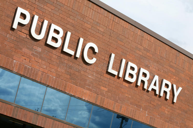Public library building. As seen from outside stock photo