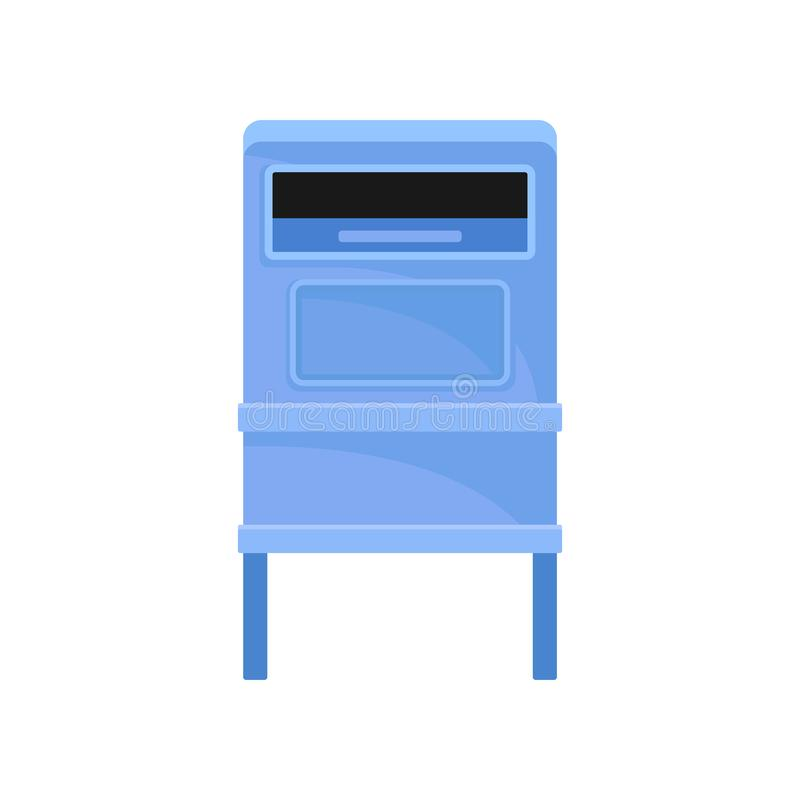 Public mailbox on legs. Street postbox. Blue metal container for correspondence. Postal service Flat vector icon. Public mailbox on legs. Street postbox with big stock illustration