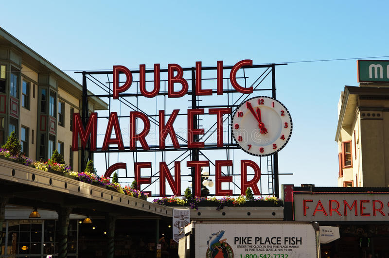 Public Market Center in Seattle Washington royalty free stock photography