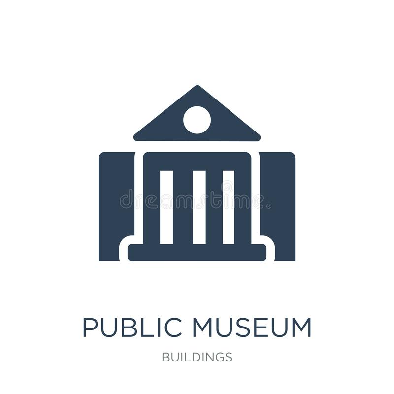 Public museum icon in trendy design style. public museum icon isolated on white background. public museum vector icon simple and. Modern flat symbol for web stock illustration