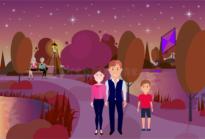 Public night park boy hold kite people active rest outdoors wooden bench river lawn trees on city buildings template. Background flat vector illustration royalty free illustration