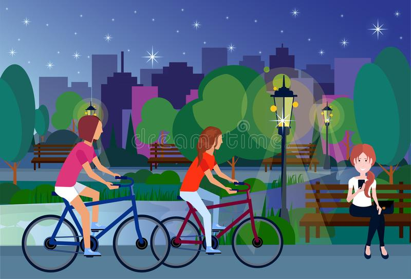 Public night park people relax sitting wooden bench outdoors cycling green lawn lake trees on city buildings template. Background flat vector illustration stock illustration