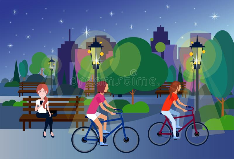 Public night park people relax sitting wooden bench outdoors cycling green lawn trees on city buildings template. Background flat vector illustration vector illustration