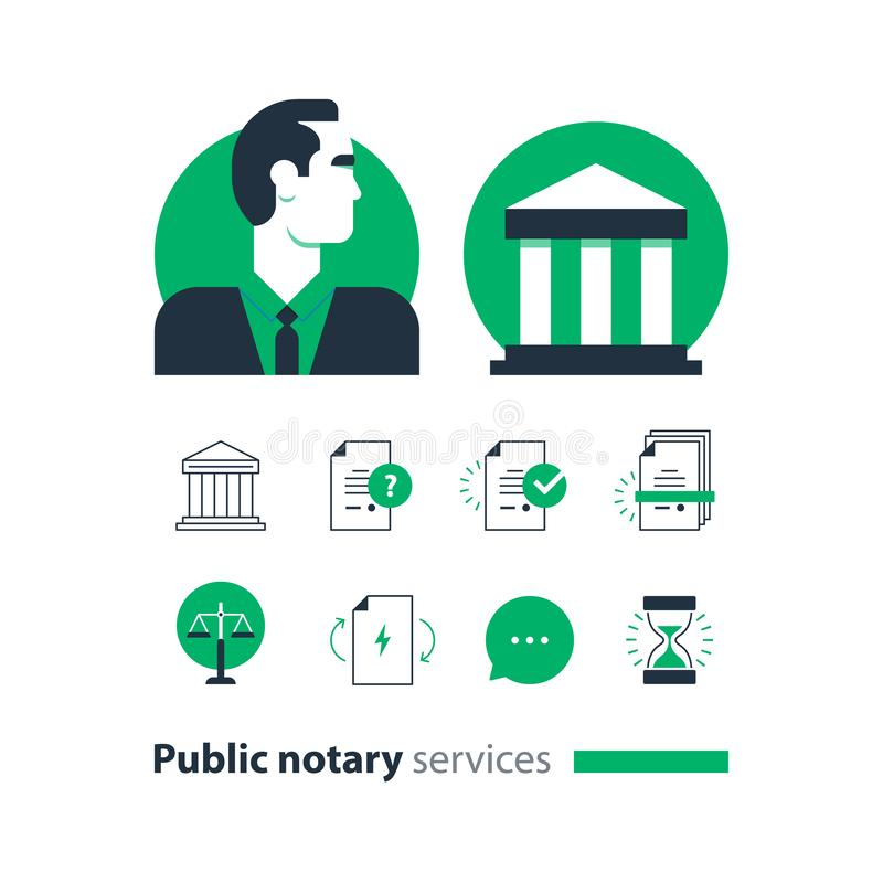 Public notary services icons set, law firm man advocacy consult document certify. Law services and public notary concept icon set. Flat design vector royalty free illustration