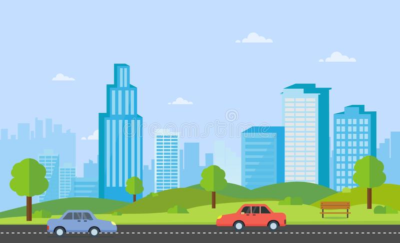 Public park with bench main street city with cars, sky and cityscape background.Beautiful nature scene with town and hill. Clean spring amazing scenery. Vector vector illustration