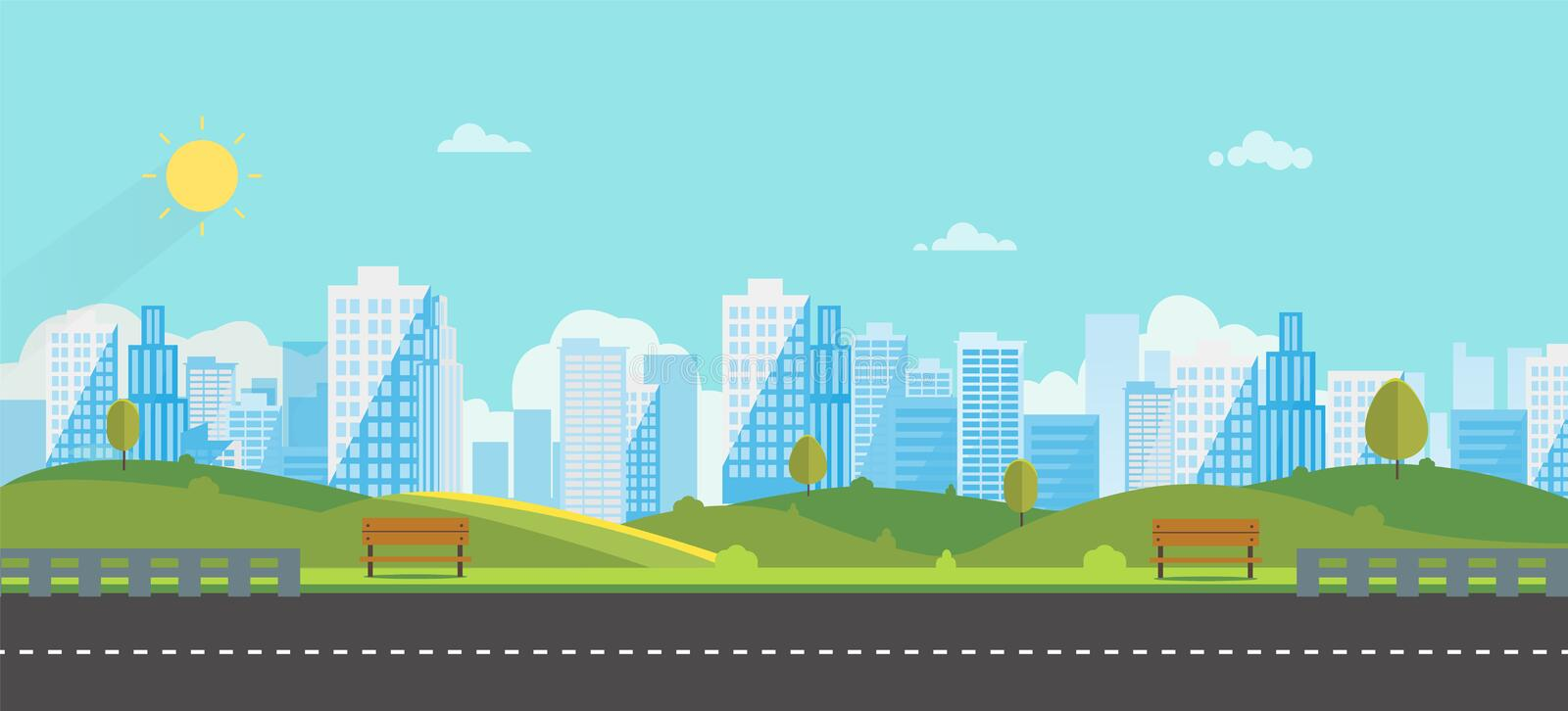 Public park with bench main street city with sky and city background.Beautiful nature scene with town and hill. Clean spring amazing scenery. Vector stock illustration