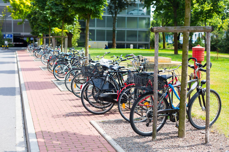 Public park with bicycle parking in Dusseldorf, Germany royalty free stock photos