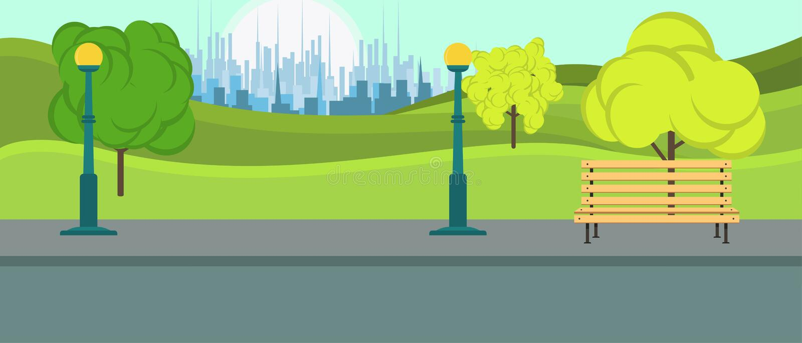 Public park city vector. Leisure season environment landscape natural with bench background. Playground summer flat relax activity vector illustration