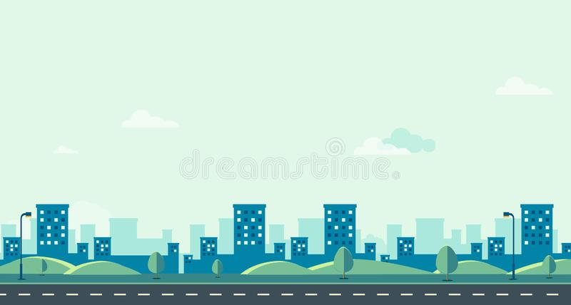 Public park with cityscape and sky background vector illustration.Beautiful nature scene design.Spring landscape with main. Street royalty free illustration