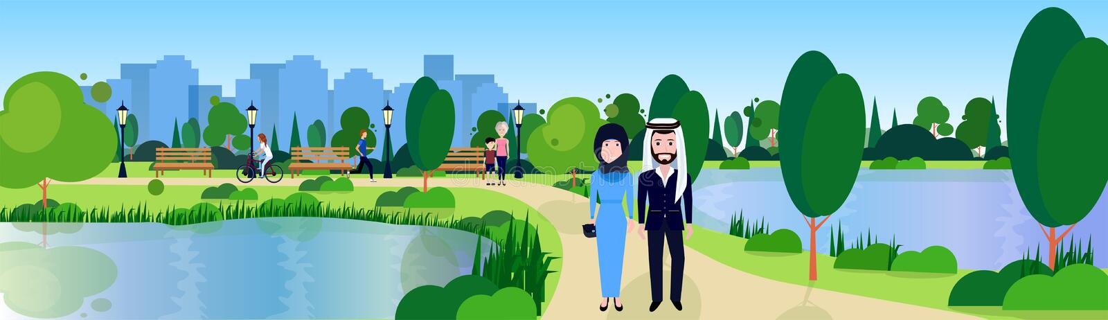 Public park couple arabic man woman relax wooden bench outdoors river green lawn trees on city buildings template. Background flat banner vector illustration royalty free illustration