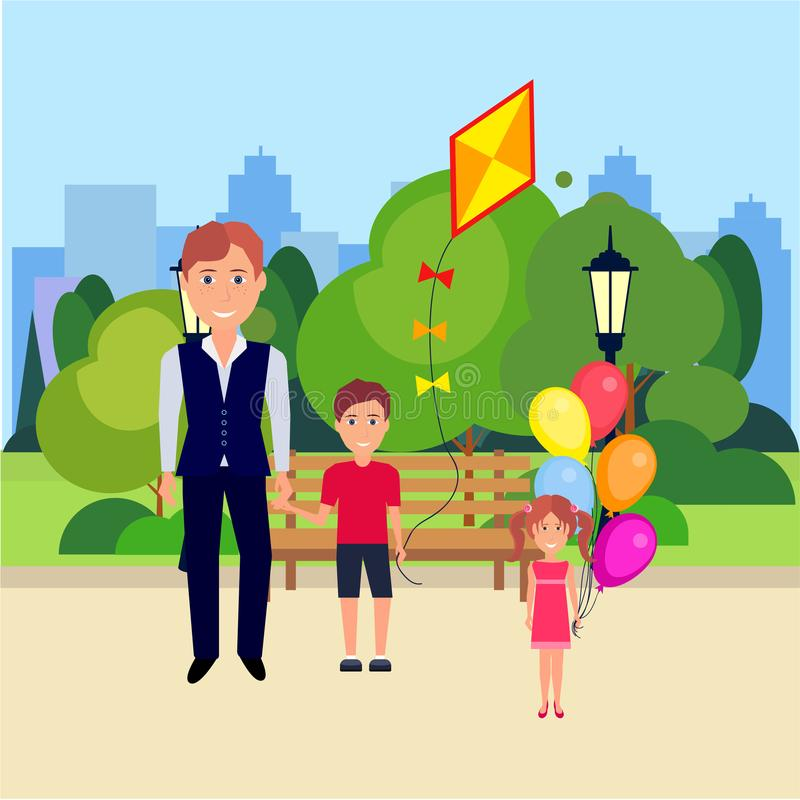 Public park father boy hold kite girl with bubbles outdoors wooden bench street lamp green lawn trees on city buildings. Template background flat vector vector illustration