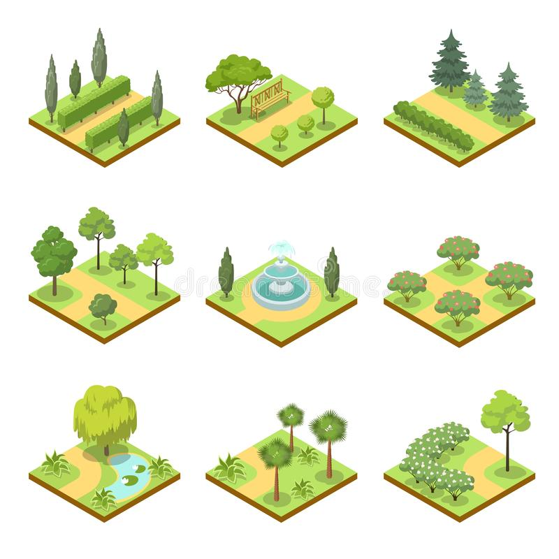 Public park landscapes isometric 3D set. Public park isometric 3D set. Flower bed, pool with water, lawn with green grass and decorative trees, park roads and stock illustration