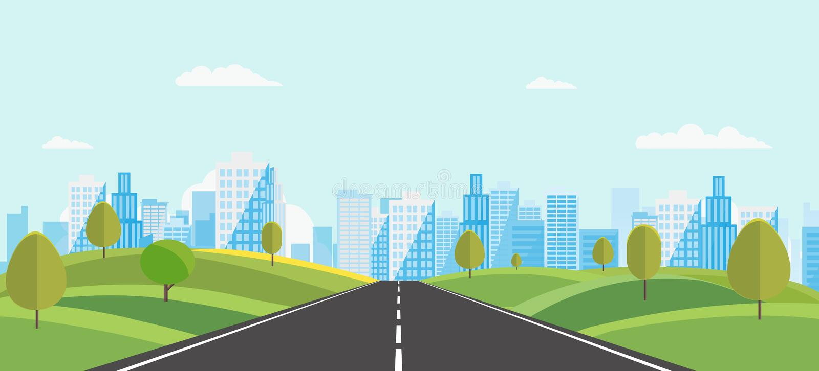 Public park with main street to city and sky background.Beautiful nature scene with town and hill.Vector illustration royalty free illustration