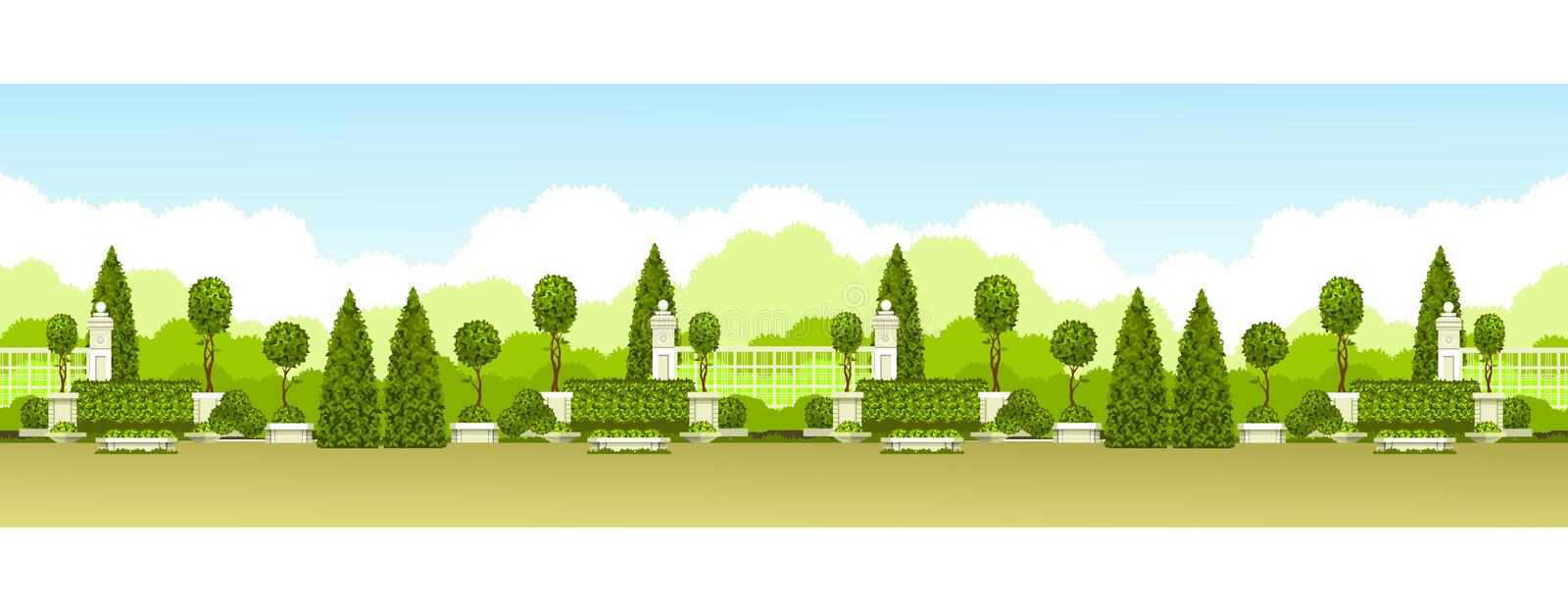 Public park panoramic. Vector illustration seamless pattern panoramic view of public praka with a hedge of topiary trees and a place for relaxation stock illustration