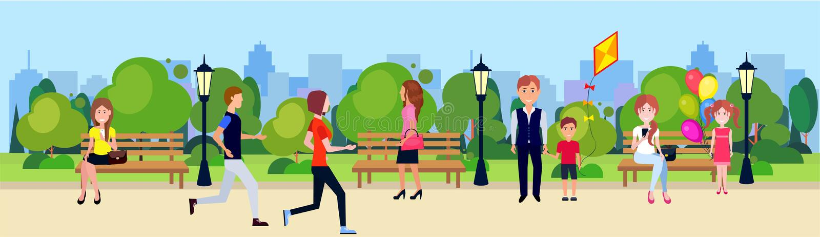 Public park people active relax sitting wooden bench outdoors walking cycling running green lawn trees on city buildings. Template background flat banner vector stock illustration