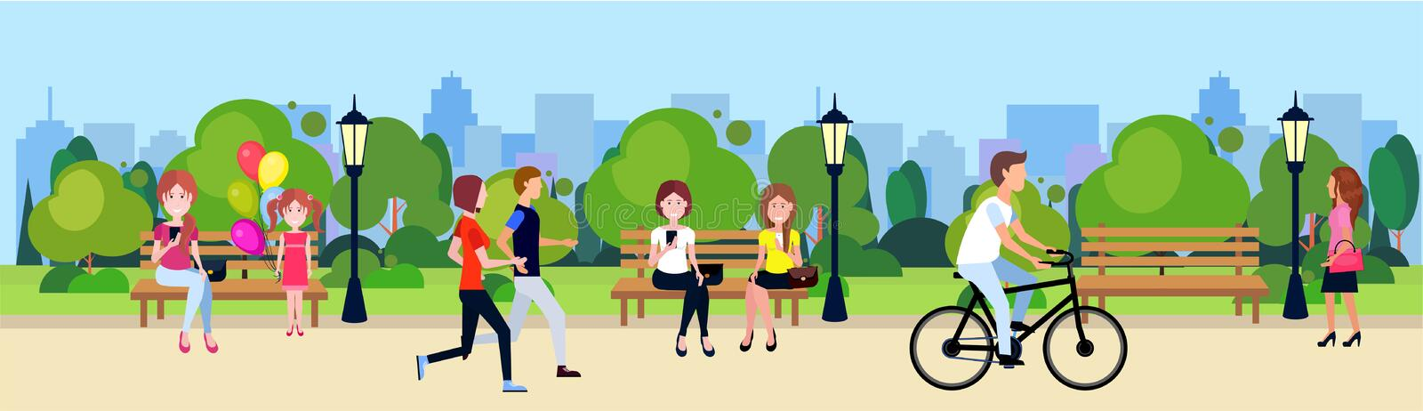 Public park people relax sitting wooden bench outdoors walking cycling running green lawn trees on city buildings. Template background flat banner vector stock illustration