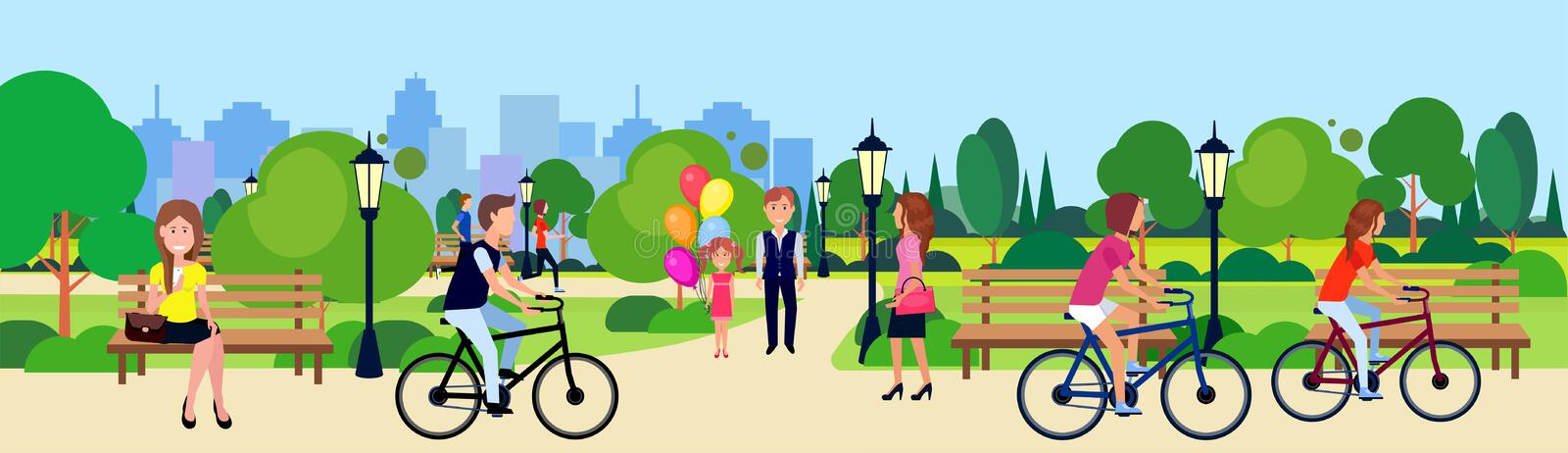 Public park people relax sitting wooden bench outdoors walking cycling running green lawn trees on city buildings. Template background flat banner vector royalty free illustration