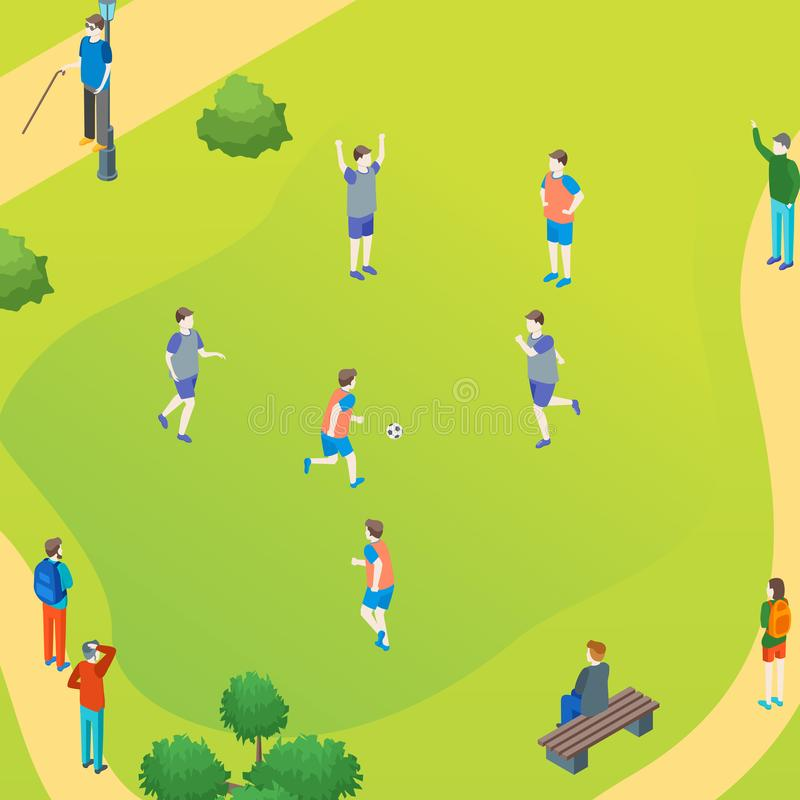 Public Park Play Football Concept Card Poster. Vector royalty free illustration
