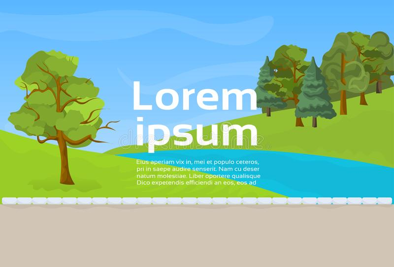 Public Park River Or Lake, Green Lawn And Trees On Template Background. Flat Vector Illustration vector illustration