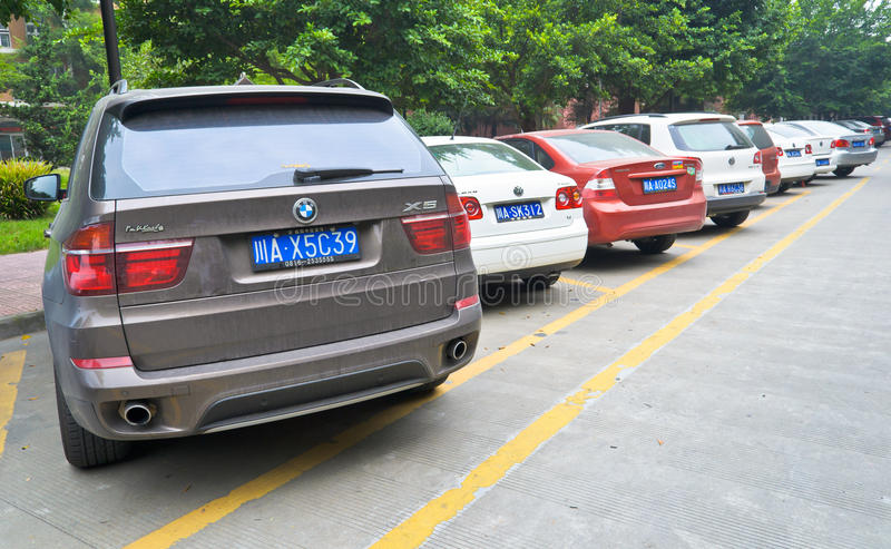 Public parking. In the sichuan university at chengdu,china.Photo is taken on 3 Sep 2011 stock image