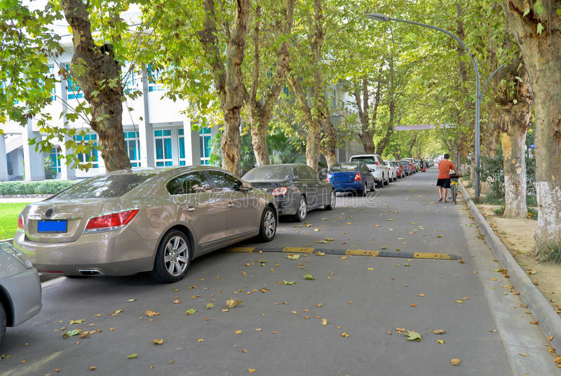Public parking. In the sichuan university at chengdu,china stock photography
